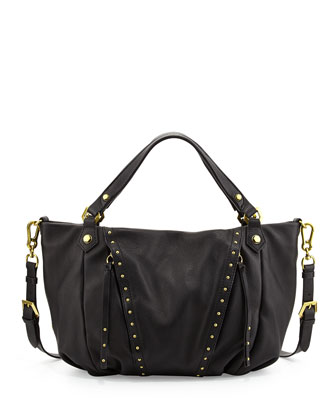 Candice Studded Leather Satchel Bag, Black