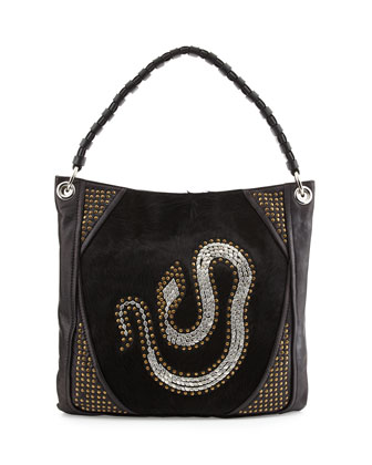 Gale Snake Studded Hobo Bag, Black