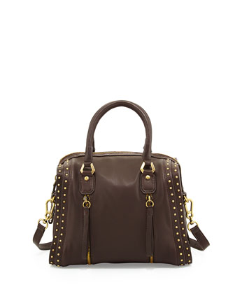 Halle Studded Leather Satchel Bag, Chocolate