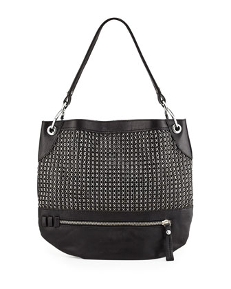 Faye Chain Weave Hobo Bag, Black