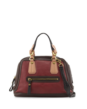 Kendal Pebbled Leather Satchel Bag, Cabernet