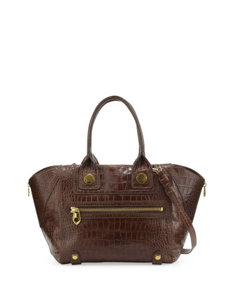 Megan Medium Crocodile-Embossed Satchel Bag