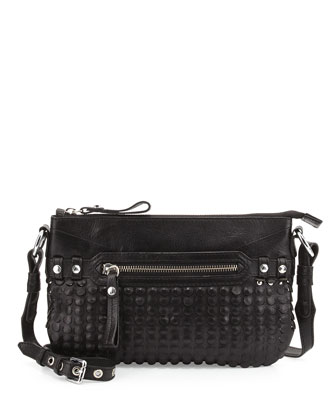 Molly Laser-Cutout Crossbody, Black
