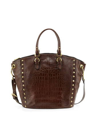 Mila Croc-Embossed Leather Tote Bag, Coffee