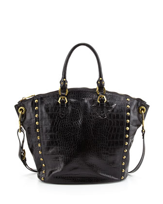 Mila Croc-Print Leather Tote Bag, Black