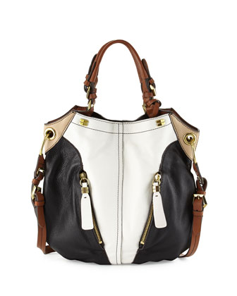 Victoria Colorblock Shoulder Bag, White/Multi