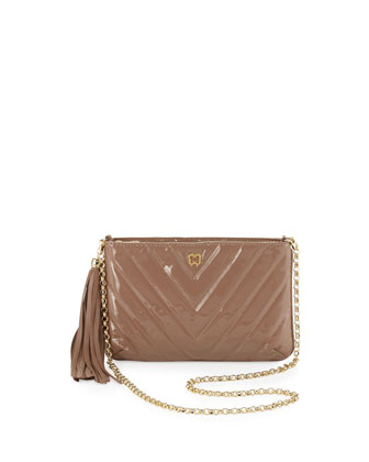 Mimi Patent Tassel Clutch Bag, Latte