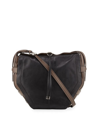 Lynn Leather Shoulder Bag, Black