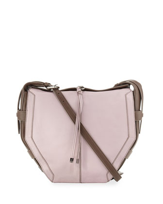 Lynn Leather Shoulder Bag, Lilac/Gray
