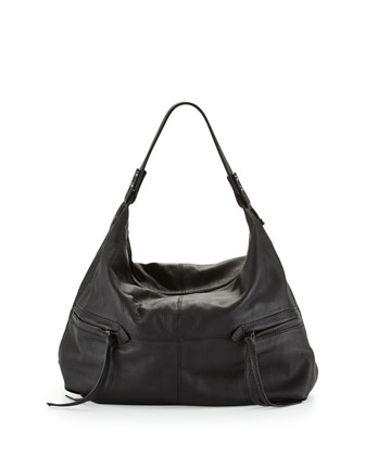 Crosby Pebbled Hobo Bag, Black