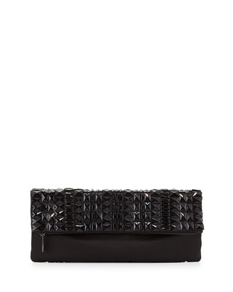 Rhianna Beaded Fold-Over Satin Clutch Bag, Black