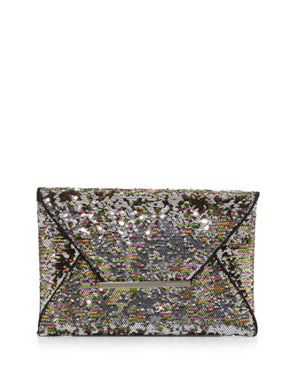 Harlow Signature Sequin Envelope Clutch Bag, Silver