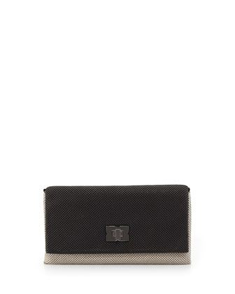 Blake Metal Mesh Clutch Bag, Nude/Black