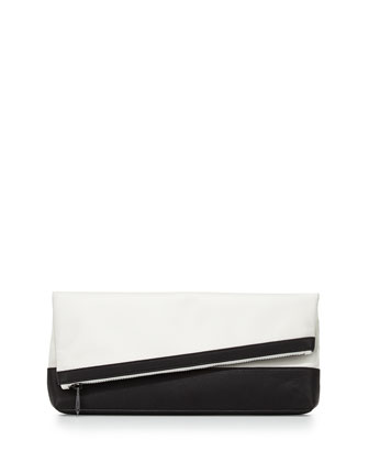 Asymmetric Fold-Over Clutch Bag, Black/White