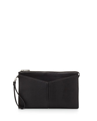 Angled Snake-Print Faux-Leather Clutch Bag, Black