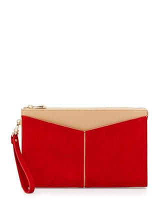 Angled-Pocket 2-Tone Wristlet Clutch Bag, Lipstick Combo