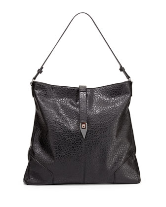Piper Pebbled Faux-Leather Tote Bag, Black