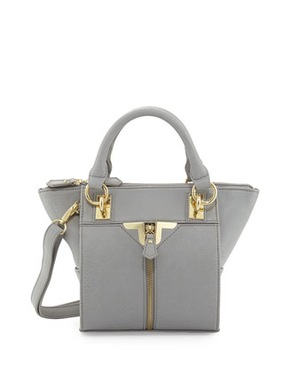 Alexa Zip-Front Mini Crossbody Bag, Gray
