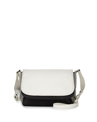 Colorblock Graphic Laser Shoulder Bag, Black/White