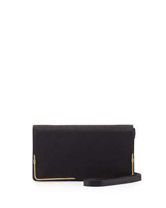 Prim Lady Faux-Leather Clutch Bag, Black