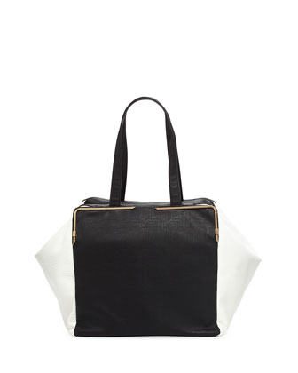 Large Prim Lady Cubed Tote Bag, Black/White