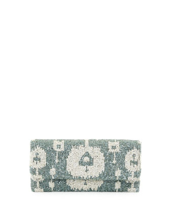 Ikat Beaded Clutch Bag, Light Gray