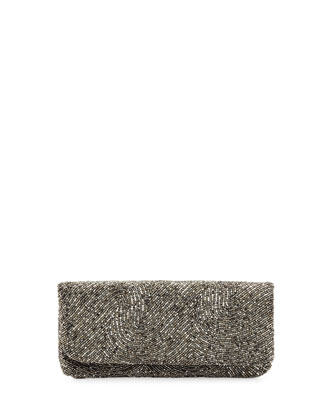 Swirl Beaded Fold-Over Clutch Bag, Dark Gray