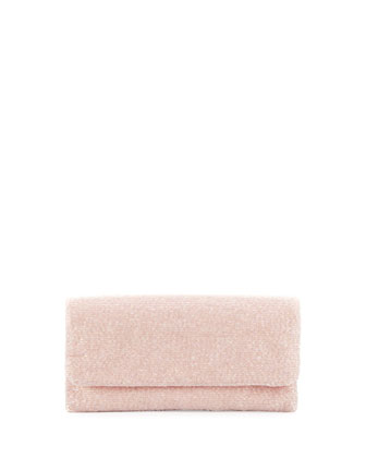 Beaded Fold-Over Clutch Bag, Light Pink