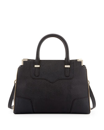 Amorous Saffiano Satchel Bag, Black