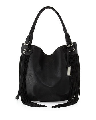 Lust Fringed Hobo Bag, Black