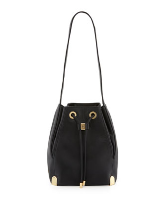 Janet Drawstring Shoulder Bag, Black