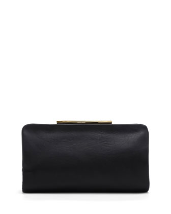 Ella Leather Clutch Bag, Black
