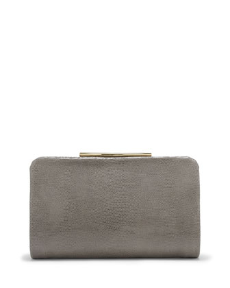 Ella Shiny Reptile Leather Clutch Bag, Gray