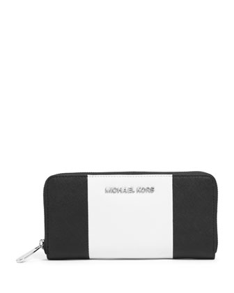 Jet Set Center-Stripe Zip-Around Wallet