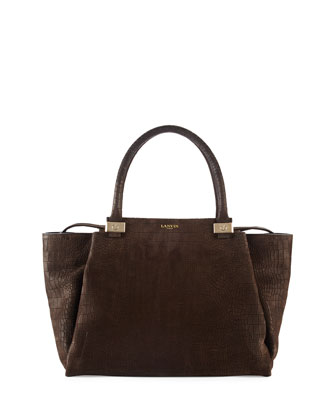 Trilogy Croc-Embossed Tote Bag, Dark Brown