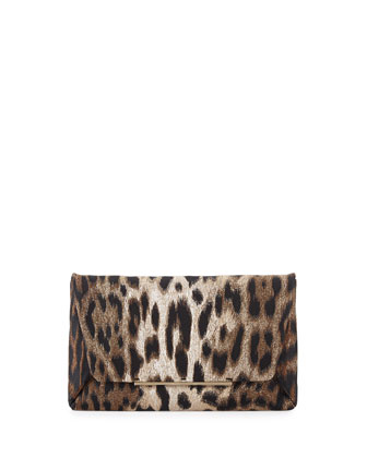 Leopard-Print Envelope Clutch Bag