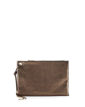 Metallic Leather Clutch Bag, Bronze