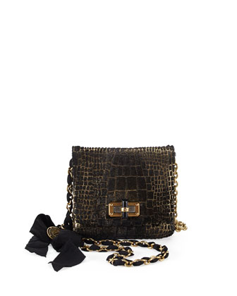 Happy Mini Pop Calf Hair Crossbody Bag, Black