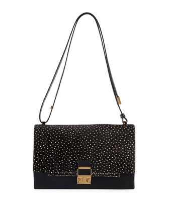 Partition Calf Hair Shoulder Bag, Black