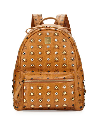 Stark Studded Medium Backpack, Cognac