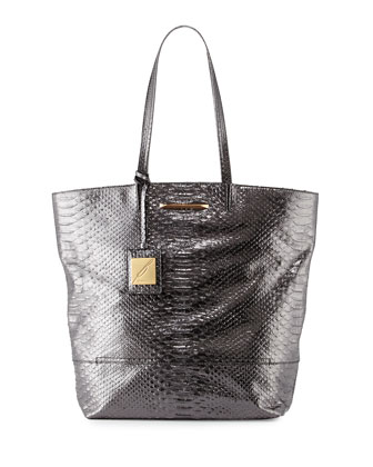 Liv Snake-Embossed Tote Bag, Gunmetal