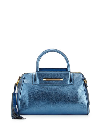 Sharon Mini Metallic Zip Satchel Bag, Cadet Blue