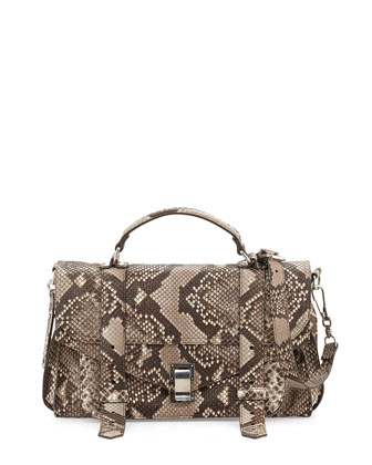 PS1 Medium Python Satchel, Cream/Black
