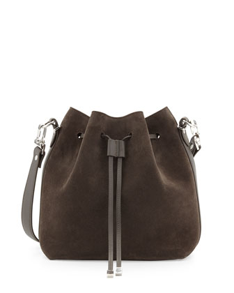 Suede Large Bucket Shoulder Bag, Gray