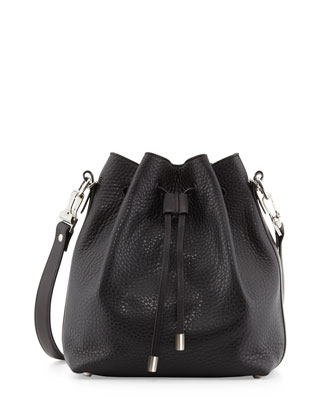 Pebbled Bucket Crossbody Bag, Black