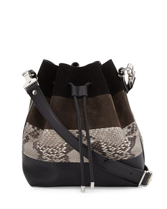 Python & Suede Medium Bucket Bag, Black Multi