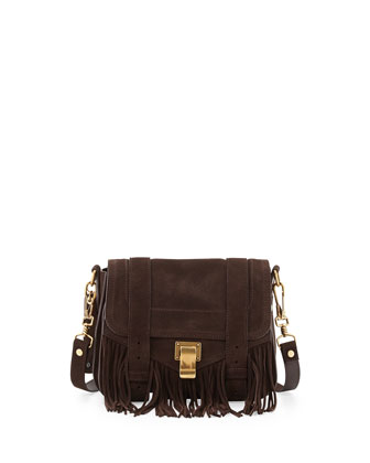 PS1 Suede Fringe Shoulder Bag, Brown