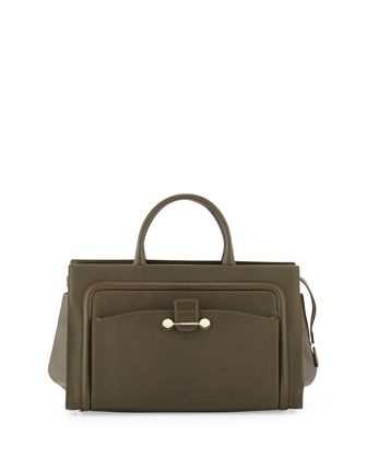 Daphne 2 East/West Leather Tote Bag, Olive