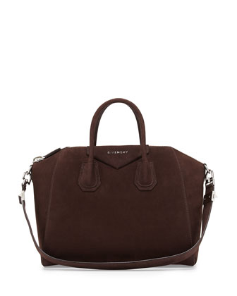Antigona Small Nubuck Satchel Bag, Brown