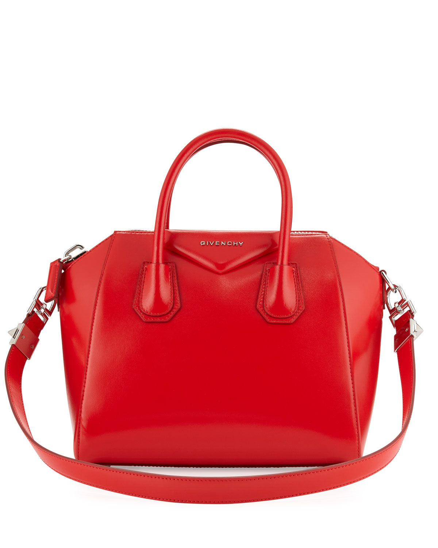 Antigona Small Leather Satchel Bag, Red, Size: S - Givenchy